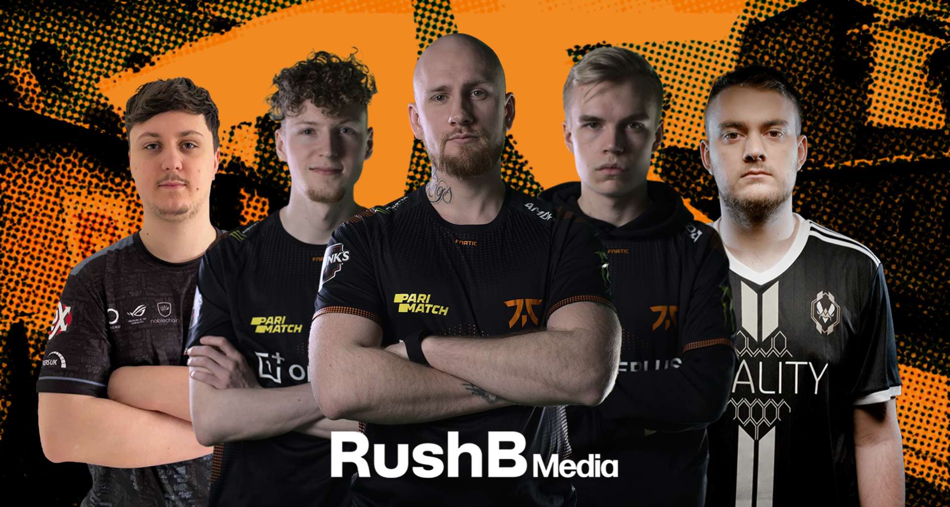 The FNATIC roster, consisting of Brollan, Mezii, Alex, Krimz, and Jackinho