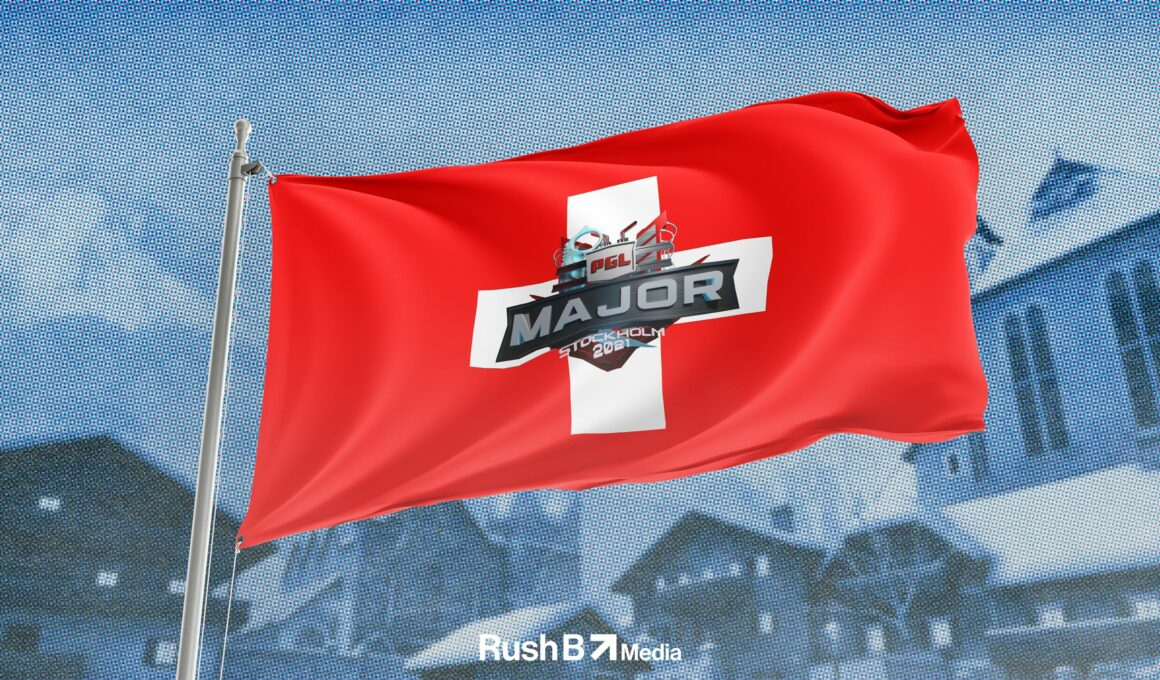 PGL Major logo on a Swiss flag